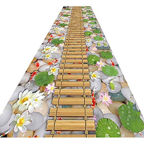 Teppiche Moderne zeitgenössische Runner Bereich Teppich, rutsch Hotel Commercial Bodenmatte Treppe Büro Flur Teppich, 3D-Ponton Design Eingangsmatte in Gewerbe Haushalt ( Color : Green , Size : 1X5M )