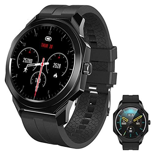 APCHY Reloj Inteligente Smartwatch para Hombres,Rastreador De Fitness De 1,28 Pulgadas Pantalla Tasa De Corazón Sueño Seguimiento Monitoreo Bluetooth Mulit Deporte Modos Pulsera con Batería,Negro