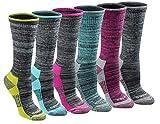 Dickies Women's Dritech Advanced Moisture Wicking Crew Sock (6/12, Black Heathered (6 Pairs), Shoe Size: 6-9