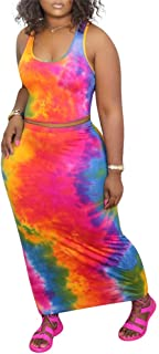 2 Piece Outfits for Women Matching Sets Women Clothing Two Piece Skirt Set Bodycon Summer Dresses for Women Sexy Tie Dye D...