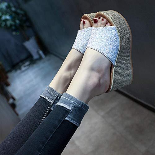 Cxypeng Mulas Sandalias Sin Cordones,Summer Viste Elegantes Sandalias y Zapatillas de Suela Gruesa, Zapatos de cuña Sexy y Brillante-White_35,Chanclas Piscina Niña Sandalias