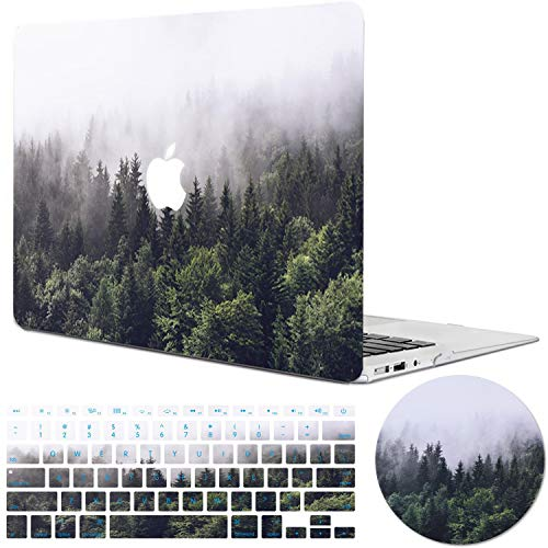 MacBook Pro 13 Inch Case 2016 2017 2018 Release A1708/A1706/A1989, DEENAKIN Shock-Proof Anti-Scratch Green Forest Design,Plastic Hard Shell,Keyboard Cover,Mouse Pad Compatible MacBook Pro 13 Inch