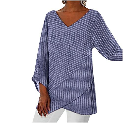 Blusa de manga larga para mujer, con cuello en V, holgada, de un solo color, informal, moderna, básica, de verano azul XXL