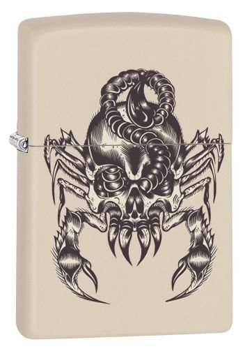 Zippo Feuerzeug 60002508 PL Scorpion Skull Benzinfeuerzeug, Messing, Cream Matte, 1 x 3,5 x 5,5 cm