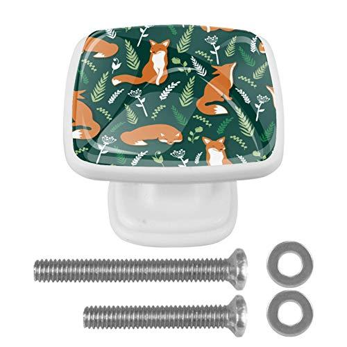 Tiradores para cajones de cocina Lindos Zorros Mimbre Verde Perillas de tocador cuadradas para gabinete, manijas para decoración de habitación de niños en el hogar (4 piezas) 3x2.1x2 cm