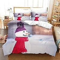 寝具セット羽毛布団カバーセット3ピースポリエステルマイクロファイバー3D寝室羽毛布団セット 260x230cm かわいいクリスマススノーマン 2x枕カバーダブルキングシングルベッド用1xキルトケース