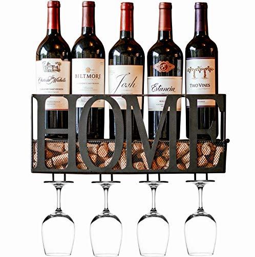 MKZ Products Wall Mounted Wine Rack | Wine Bottle Holder| Hanging Stemware Glass...
