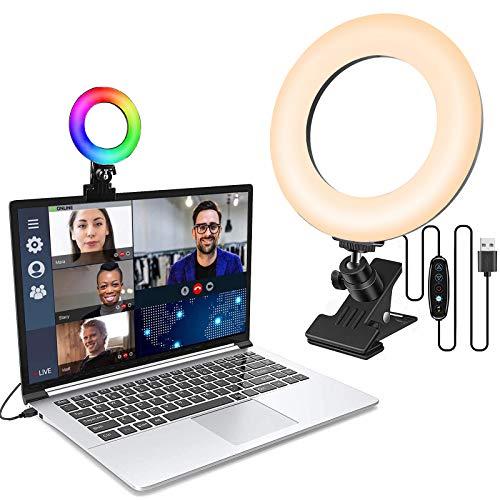LAVKOW 16cm/6.3'' Videokonferenz Beleuchtungsset mit Clip für Mobiltelefone Dimmbares LED Makeup Licht mit RGB-Effekt für Live Stream/Fotografie/Zoom-Meeting/Fernarbeit/YouTube/TikTok-RGB Effekte