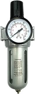 "BRUFER AFR80 Air Filter Regulator Combo 1/2"" NPT with Gauge and Bracket (T-Handle), 5 Micron Element, Poly Bowl, Manual Drain - Compressor Air Filter Air Pressure Regulator"