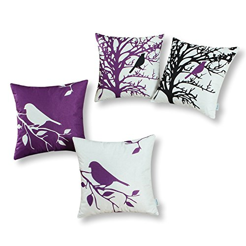 CaliTime Set of 4 Soft Canvas Throw Pillow Covers Cases Couch Sofa Home Decoration Shadow Bird Tree Branches Silhouette 20 X 20 inches Purple