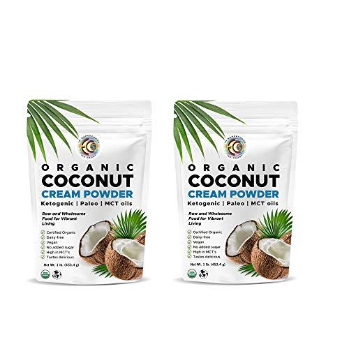 Earth Circle Organics - Organic Coconut Cream   Milk Powder, Perfect Keto Coffee Creamer - High in MCT Oil, Vegan, No Added Sugar, Gluten and Dairy Free - 1 Pound (2 Pack)