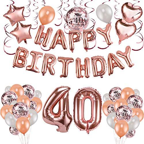 HOWAF Rose Gold 40. Geburtstag deko für Frauen und Mädchen, 59 Stück Happy Birthday Girlande Banner Luftballons Set Helium Folie Herz Ballon für 40 Geburtstag Dekoration