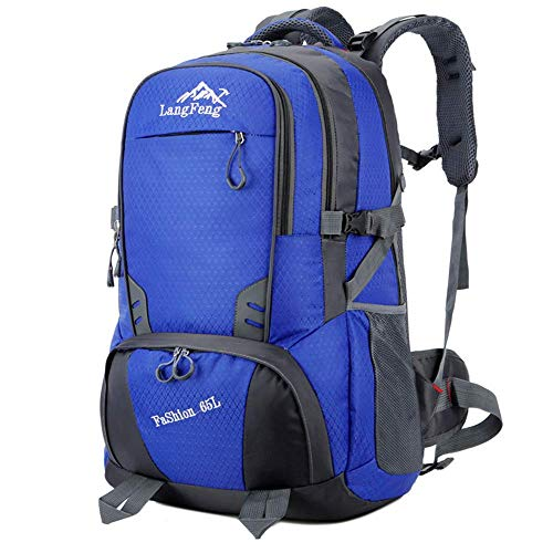 65L Casual Sport Hiking Backpack, Multi-Functional Water-Resistant Outdoor Traveling Trekking Rucksack Camping Cycling Climbing Mountaineer Daypack for Men Women,Green GAGEAA (Color : Blue)