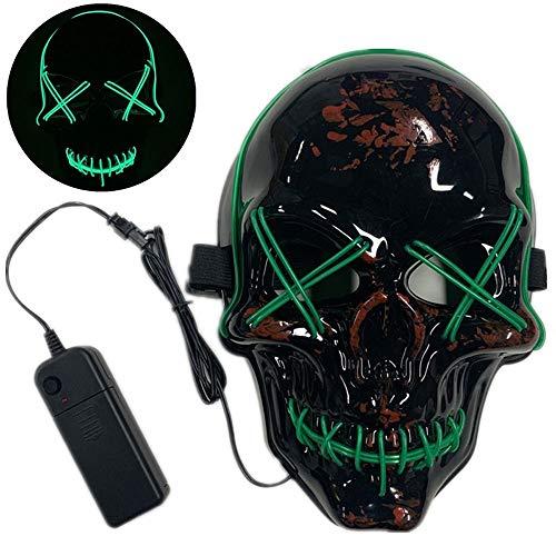 YZT QUEEN Halloween-masker, LED, koel licht, skeletmasker, 10 kleuren, voor Halloween, Cosplay (3 verlichtingsmodi)