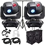 American DJ 3 Sixty 2R Dual Moving Head Lights (2) with DMX Cables (2), Arriba Rolling Bags (2), Heavy Duty C-Clamps (2), 24 Inch Safety Cables (2) & Adjustable Tripod Stand with T-Bar