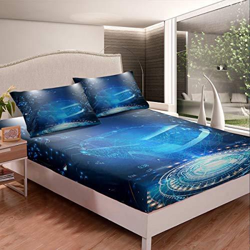 Juego de sábanas de cama Galaxy para niños y niñas, espacio exterior fresco, juego de ropa de cama para coche, diseño de ciencia ficción, 3 piezas, tamaño doble, cremallera