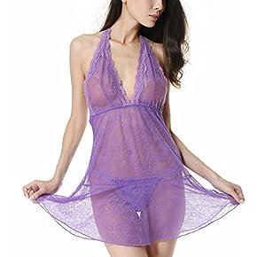 Sexy Lingerie for Women | Lyps Lingerie – Open Back and V-Neck Sleepwear Lace Babydoll Strap Chemise Halter Nightie Dress
