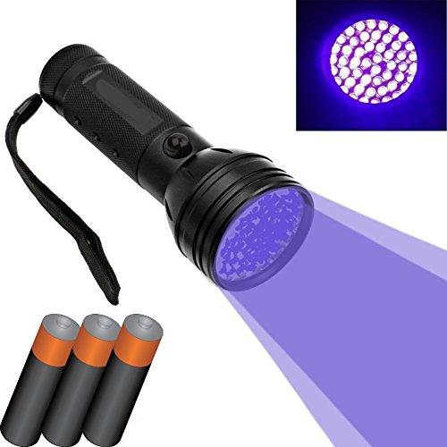 DOBO® 51 LED UV-LED zaklamp van aluminium met UV-licht en UV-lamp om sporen van vlekken of urine te herkennen - 3 batterijen AAA inbegrepen