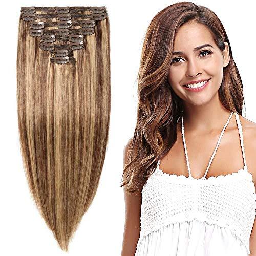 Clip-in haarverlengingen, haarverlengingen, volledige lengte haarverlengingen, 8 inslag dubbele haren, dikte 45cm-140g (# 1BT4 natuurlijke zwart/chocolade bruin) # 4/27 chocolade bruin / donker blond