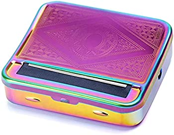 Automatic Rolling Box,70mm Cigarette Rolling Machine ,Manual Cigarette Tobacco Rolling Machine Portable Metal Box for Rolling Tobacco Smoking Roller and Storage Case  Colorful