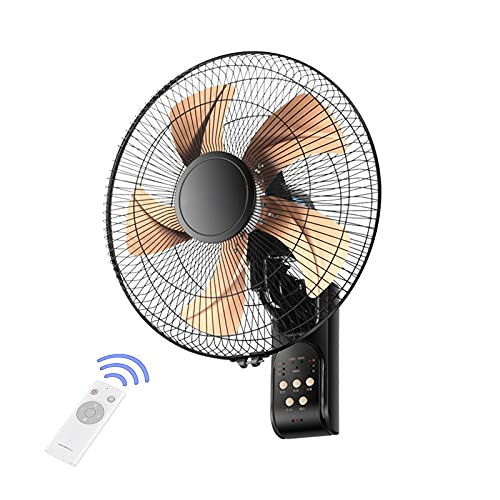 TKHHC Ventilador de Montaje en Pared de 16 Pulgadas, Ventilador Oscilante de 90 Grados para el Hogar del Dormitorio, Control Remoto Incluido, 5 Aspas, Ventilador de Pared de 3 Velocidades,