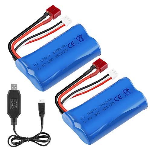 Sirecal 2PCS 2S 2000mAh Li-Ion Batería 7.4V 20C T Plug Conector Hembra Batería Recargable con Cargador de batería USB para RC Car Off Road Truck Jumper T16 Transmisor, etc.