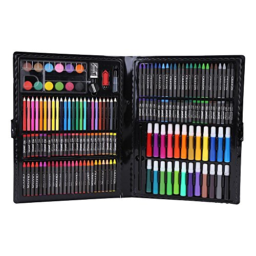168 sztuk/zestaw Kolorowy ołówek Zestaw do rysowania akwareli Dzieci Malowanie papeterii (czarny)