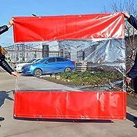 赤い屋外テントサイドパネルサイドウォール付き、雨と風のパネル 屋台ピクニック用、クリアパーティションカーテン、カスタムサイズ (Size : W4m x H4.5m(13ft×15ft))