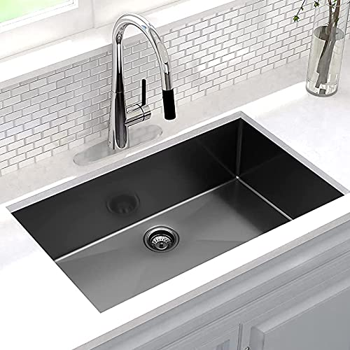 CELAENO 32 Inch Gunmetal Black Undermount Kitchen Sink, Modern 16 Gauge Extremely Durable Single Bowl Stainless Steel Sink with Nano Surface