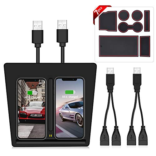 AMZBY Draadloze Oplader voor Tesla Model 3, Twee USB-poort Draadloze Oplaadpads voor Tesla Model 3 Accessoires, Twee Opladers voor iPhone XS MAX / XR / X / 8/8 Plus en Samsung Qi ingeschakeld Alle telefoons