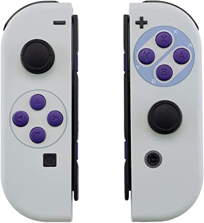 eXtremeRate Soft Touch Grip Classics SNES Style Joycon Handheld Controller Housing with Full Set Buttons, DIY Replacement Shell Case for Nintendo Switch Joy-Con - Console Shell NOT Included