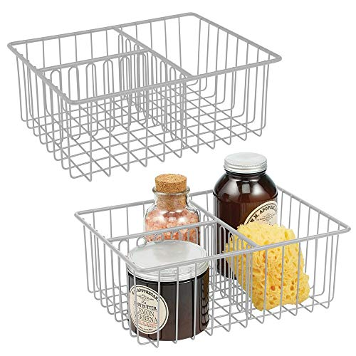 mDesign Bathroom Farmhouse Metal Wire Storage Organizer Bin Basket Holder for Cabinets, Shelves, Closets, Countertops, Bedrooms, Kitchens, Garage, Laundry - 2 Pack - Light Gray