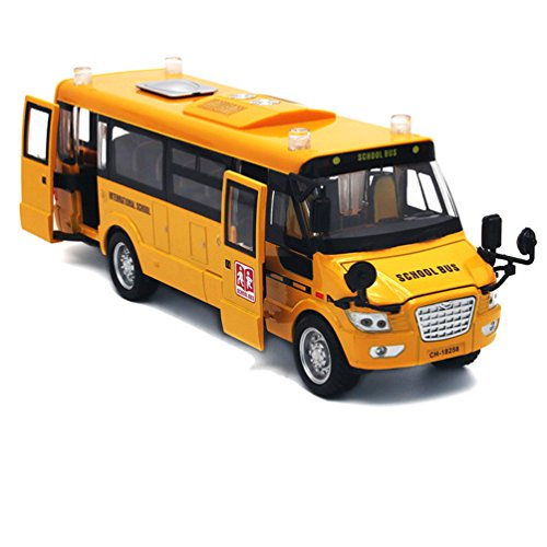 Mallya 9' Yellow Pull Back School Bus Alloy Diecast Toy Vehicles with Lights Sounds and Openable Doors