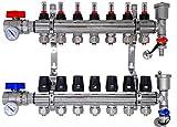 Distribuidor circuito de calefacción, suelo radiante FULL con caudalímetro...