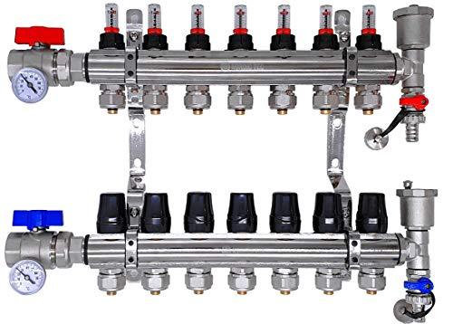 Distribuidor circuito de calefacción, suelo radiante FULL con caudalímetro Topmeter S, válvulas de bola, circuitos de calefacción termómetro NORDIC- 5 circuitos de calefacción
