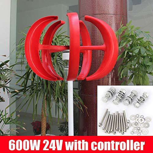 DiLiBee Generador de viento 5 tablillas 12 / 24V 600W Linternas Aerogenerador Turbina de viento DHL (rojo, 600W 24V)