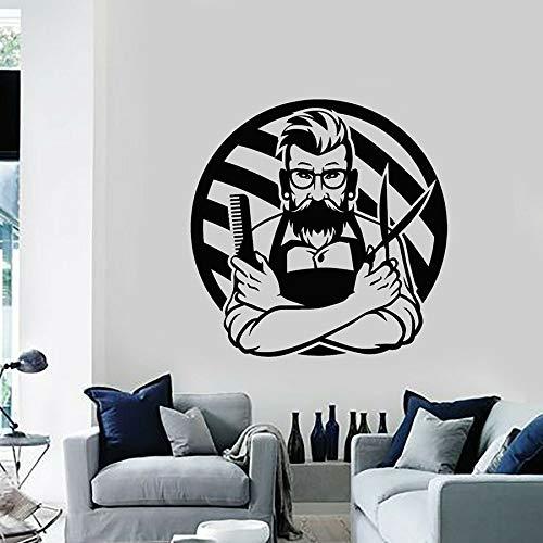 WERWN Calcomanía de Vinilo para Pared Hombre Barbudo Peluquero Corte de Pelo salón de peluquería decoración de Interiores Pegatina de Ventana barbería Arte Mural