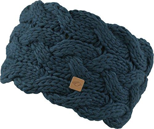 Feinzwirn Strick-Kopfband mit Fleece innen für Damen - warmes Stirnband Haarband, Petrol, 11cm