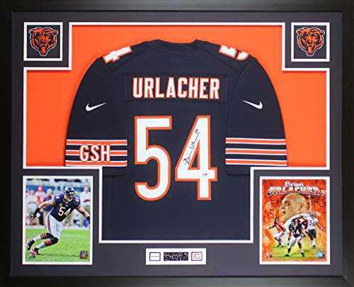 Brian Urlacher Autographed Blue Chicago Bears Jersey - Beautifully Matted and Framed - Hand Signed By Brian Urlacher and Certified Authentic by PSA - Includes Certificate of Authenticity