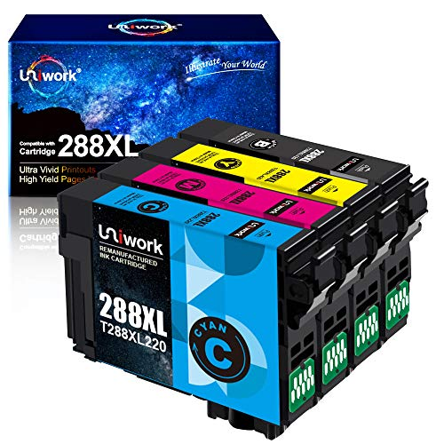 Uniwork Remanufactured Ink Cartridge Replacement for Epson 288 XL 288XL T288XL High Yield to use with XP-440 XP-330 XP-340 XP-430 XP-446 XP-434 Printer (Upgraded Chip, 4 Pack)