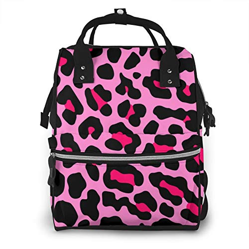 Risating Mummy Backpack - Pink Leopard Print Baby Changing Bags Multifunction Durable Twill Canvas for Mom Dad