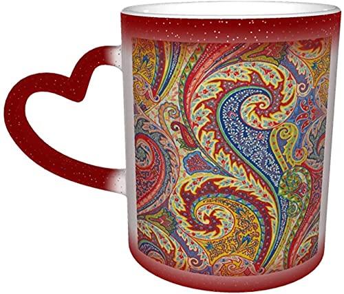 MENYUAN Taza mágica con diseño de cachemira, sensible al calor, cambia de color en el cielo, divertida taza de café, regalos personalizados para los amantes de la familia, amigos, rojo