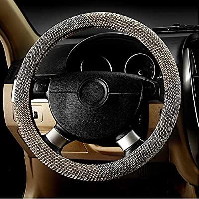 Leather Steering Wheel Cover,Anti Slip Breathable Odourless,Universal 15 Inch Auto Steering Wheel