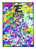 PSYWORK Schwarzlicht Stoffposter Neon 'Trippy Eye Chart', 0,5x0,7m