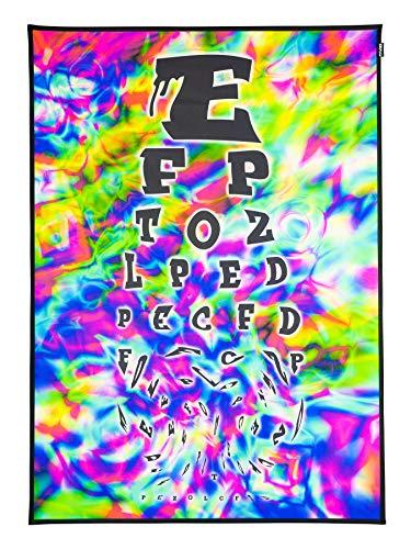PSYWORK Schwarzlicht Stoffposter Neon Trippy Eye Chart, 0,5x0,7m