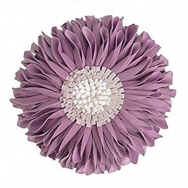 JWH Handmade Flowers Accent Pillows Round Sunflower Cushion Decorative Pillowcases with Insert Home Sofa Bed Living Room Decor Gifts 12 Inch/30 CM Velvet Purple