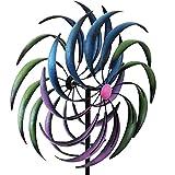 Wohaga Buntes Doppelwindrad mit Standstab inkl. Erdspieß H208cm Metall Windspiel Gartenstecker Beetstecker
