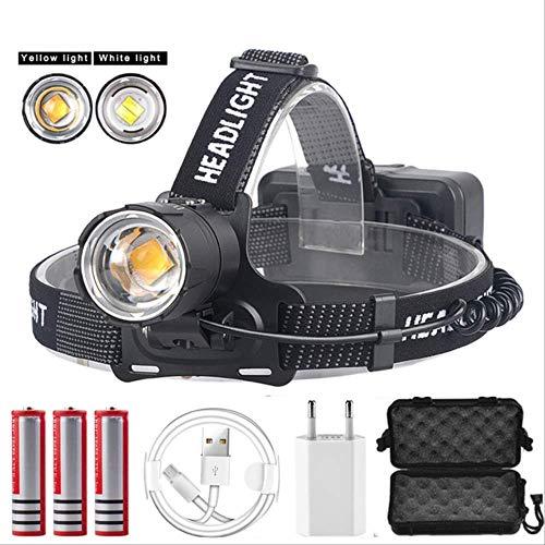 SSXZ Scheinwerfer 100000Lm Xhp70.2 Led Scheinwerfer Xhp70 Leistungsstärkste gelbe oder weiße Led Scheinwerfer Gelbes Licht-3000K Paket D