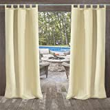 UniEco - Outdoor Curtains for Gazebo with Adhesive Tape, Mildew Resistan Pergola Curtains, Perfect for Garden Patio Balloon of Pavilion Beach House, 1 Piece, 132x215cm, Beige