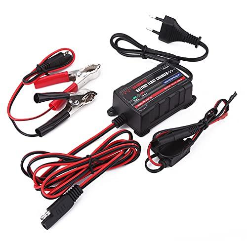 Mantenedor de cargador de batería, 0.75A 6V 12V Cargador automático de batería para motor de automóvil ATV RV (Enchufe europeo)